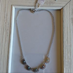 NWT necklace fan turquoise silver
